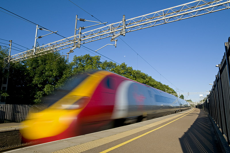 Virgin train moving at high speed